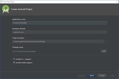 Crear proyecto Android Kotlin RatingBar Example