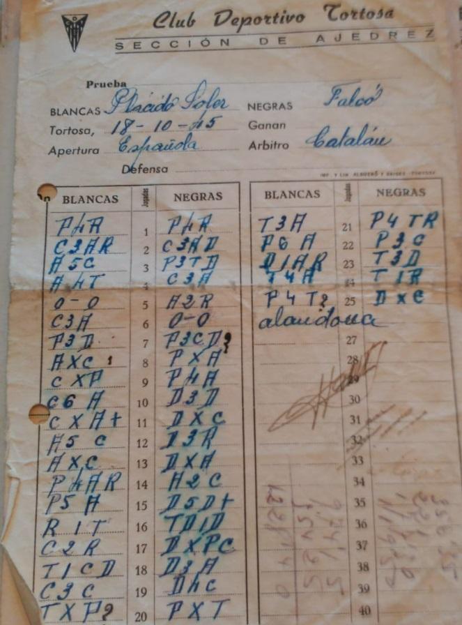 Planilla de la partida de ajedrez Soler-Falcó jugada en 1945