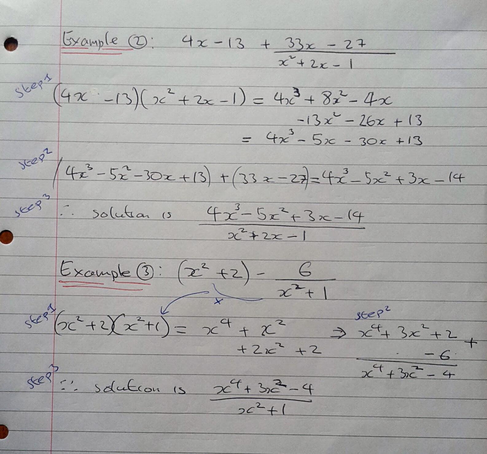 Algebraic Fractions Edexcel Answers