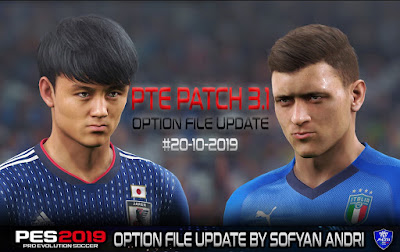 PES 2019 PTE Patch 2019 3.1 DLC 6.0 Option File 20/10/2019 by Sofyan Andri