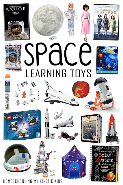 Space Toys and Books for Kids to learn about outer space exploration.  Perfect for S.T.E.M. classrooms!