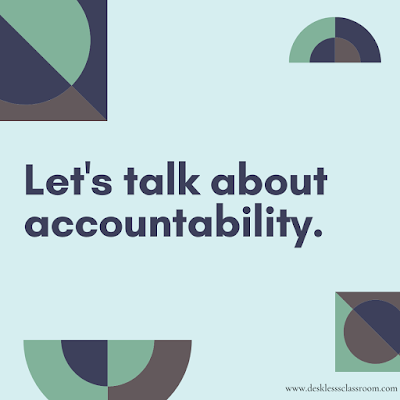 Image description: geometric figures in dark blue, brown, and light green with the words Let's talk about accountability.