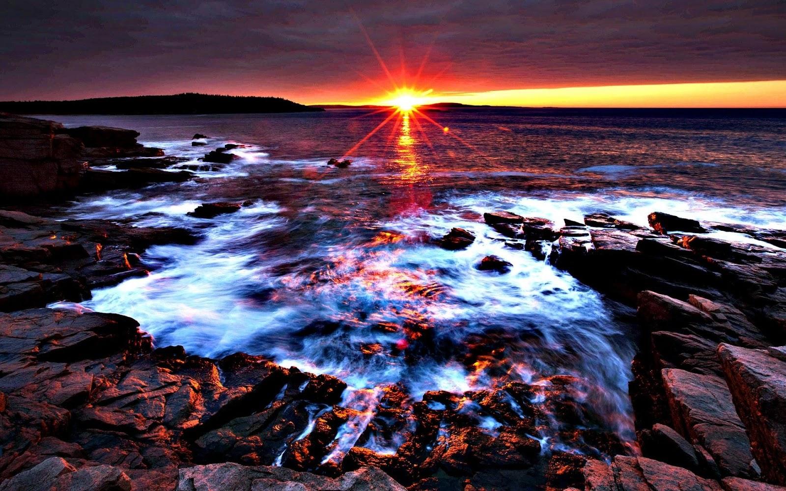 Sunset At Acadia National Park Maine Desktop Backgrounds wallpaper
