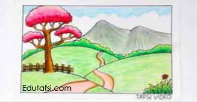 Cara menggambar pemandangan padang rumput untuk pemula