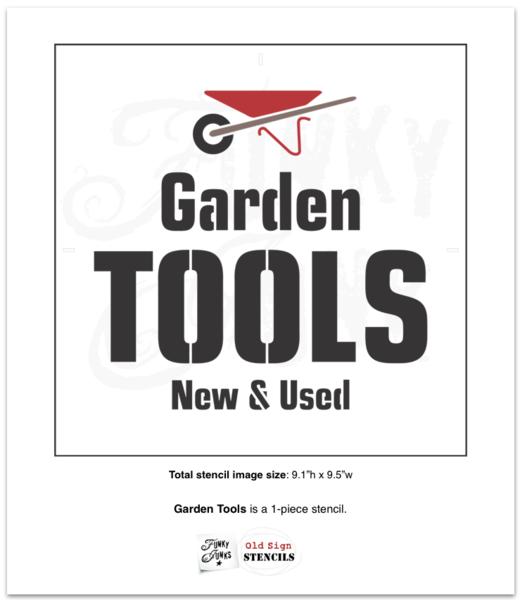 Photo of a garden tools stencil