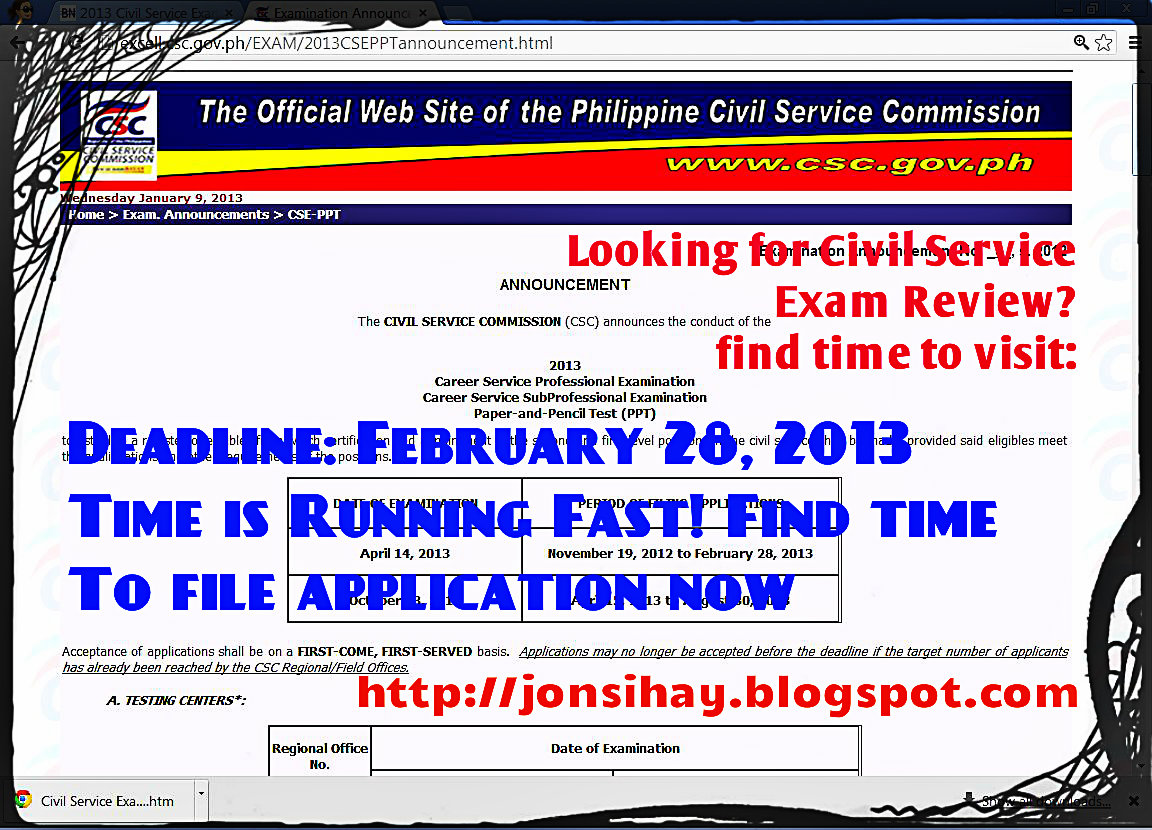 """Deadline of Filing CS Exam for First of 2013 - PPT. """""""