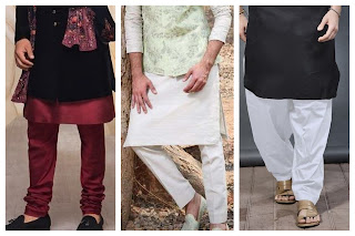 3 different types of men's pajama paired uo witha kurta.