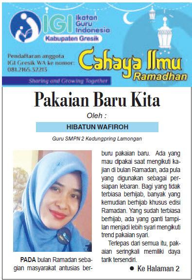 Tulisan Hari ke-22 Program Cahaya Ilmu Ramadhan tahun 2019
