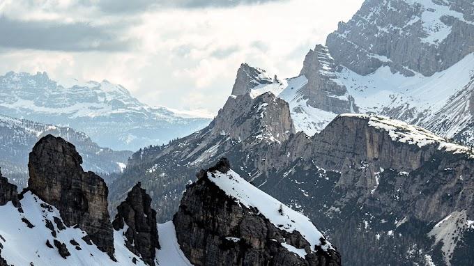 Plano de Fundo Montanhas, Rochas, Neve, Inverno