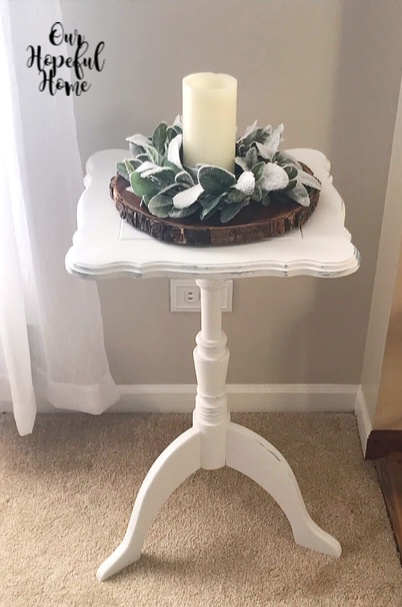 linen white chalk paint square side table wood slice LED candle