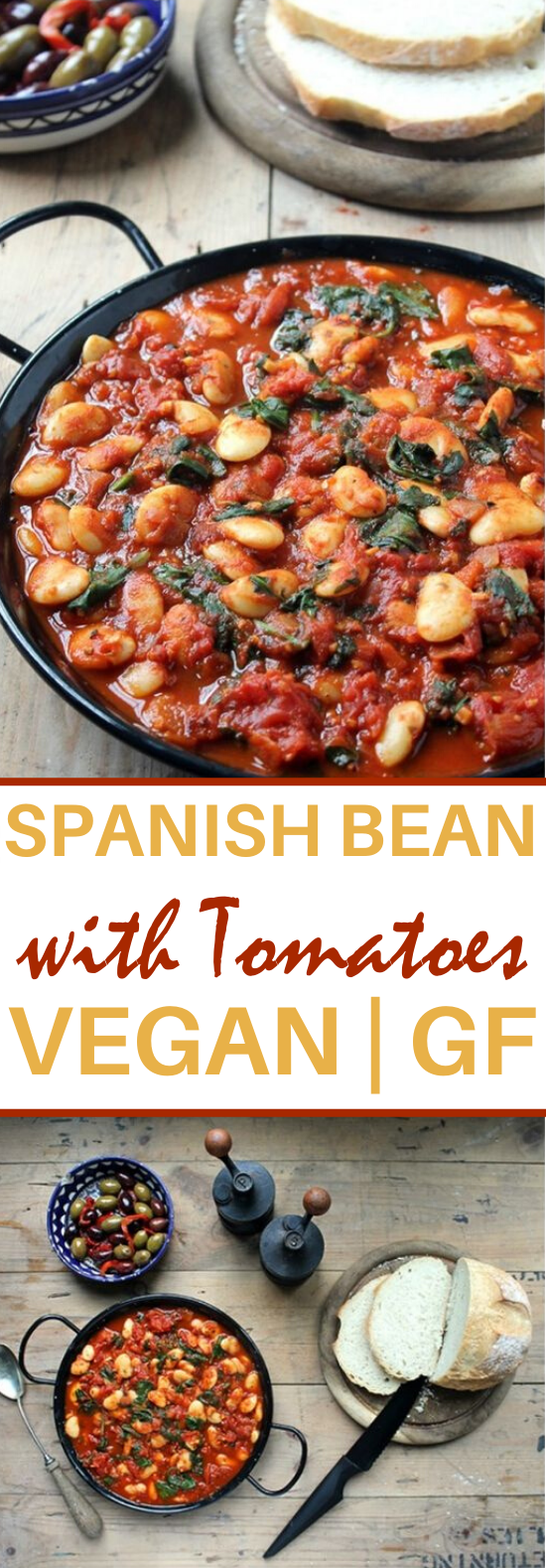 Vegan Spanish Beans with Tomatoes #vegan #dinner #meatless #soup #glutenfree