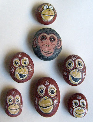 painted rocks, monkeys, rock painting, critters