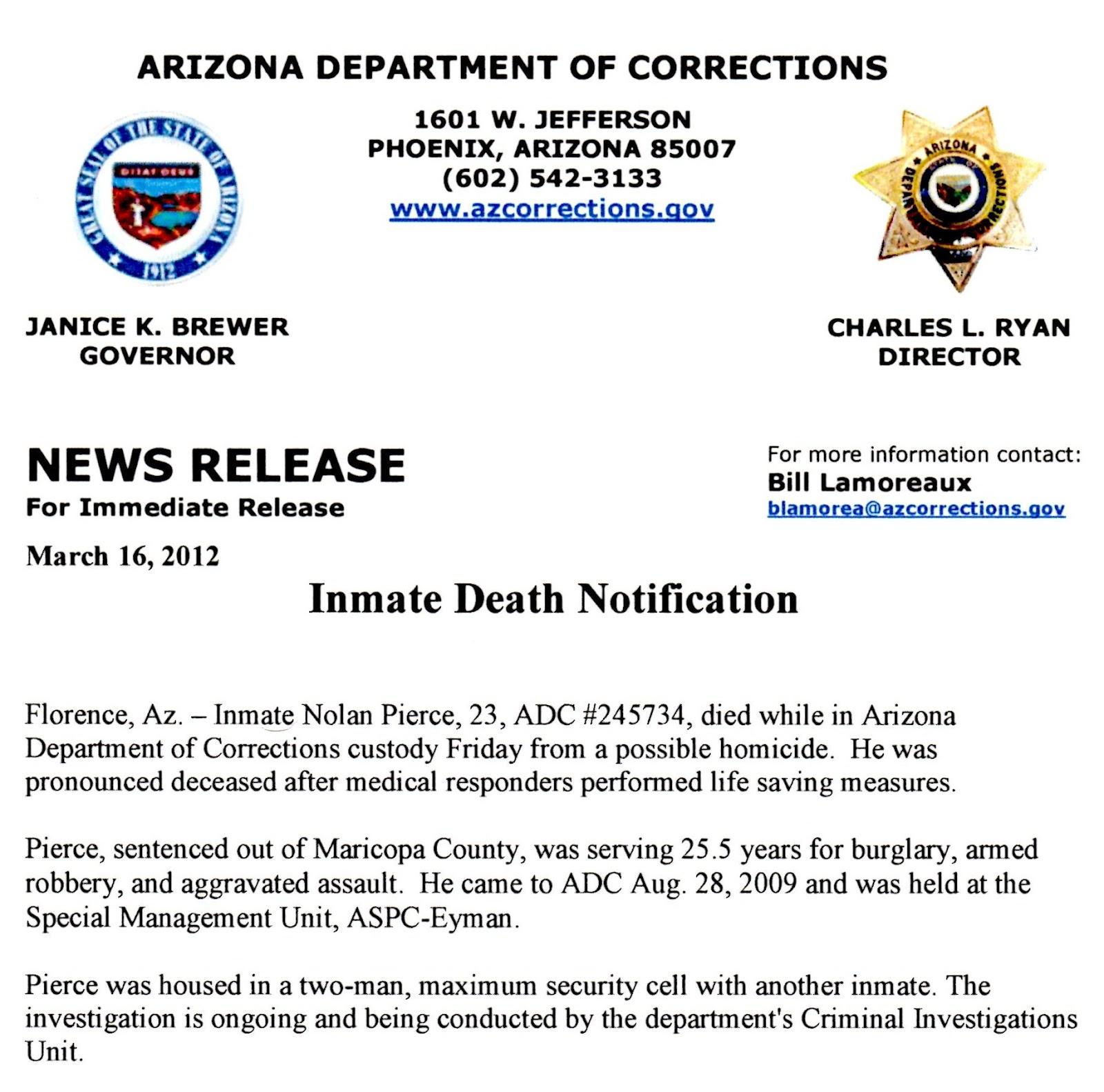 Arizona Prison Watch: ASPC-Eyman Deaths in Custody: Nolan