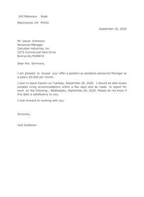 Employee Job Acceptance Letter Sample
