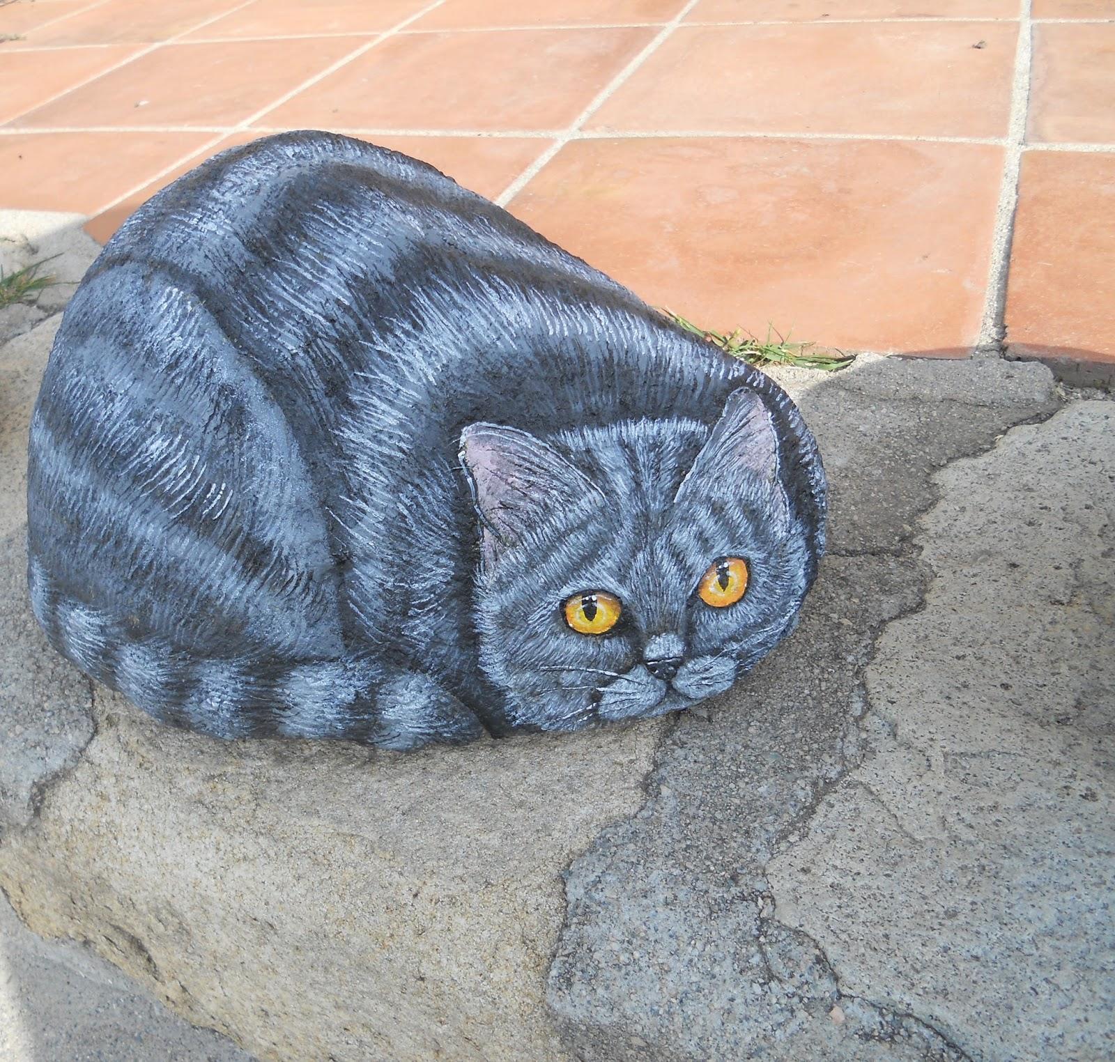 Piedras pintadas a mano como pintar un gato en piedra - Como pintar azulejos a mano ...