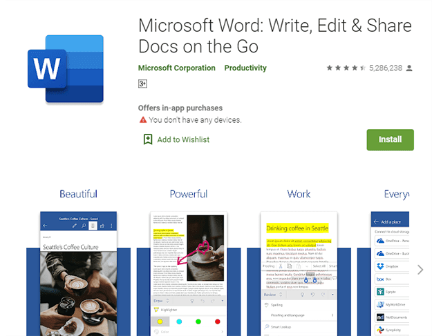 تحويل وورد إلى PDF تطبيق Microsoft Word