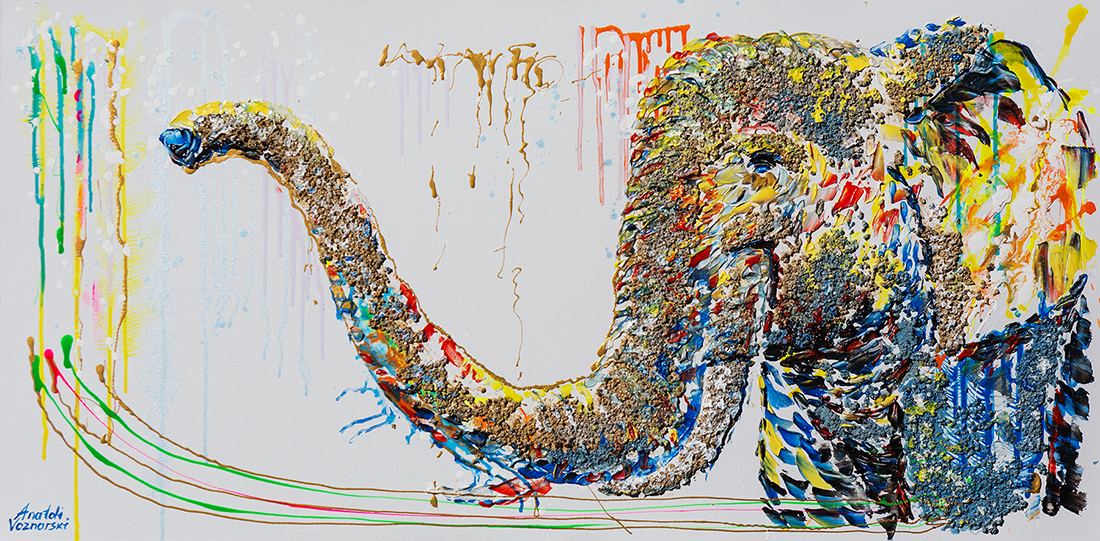 elephant acrylic painting,elephant dot, heavy textured elephant painting, mixed elephant, unique elephant painting on canvas, anatoli elephant, anatoli voznarski oil, 3D elephant painting, elephant print, animal painting, abstract oil elephant,contemporary elephant,elephant