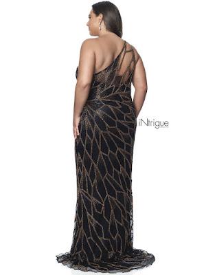Single Shoulder fitted Blush Plus Size Prom black bronze dress back side