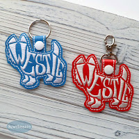 Westie Terrier Key Chain, text filled, blue and red