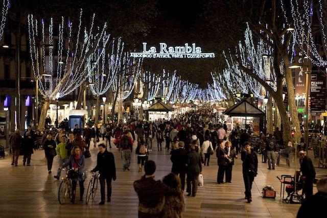 Las Ramblas em Barcelona no inverno