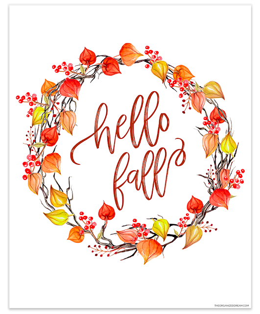 Hello Fall watercolor leaf wreath printable. #printables #hellofall #falldecor #homedecor