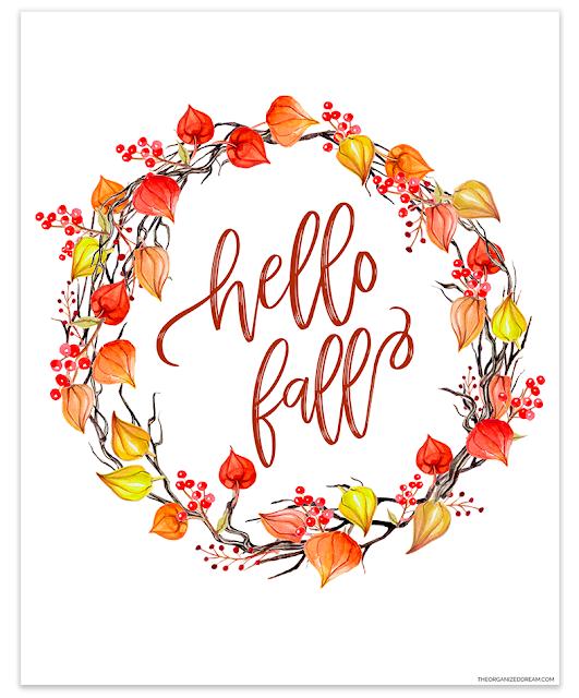Hello Fall watercolor leaf wreath printable. #printables #hellofall #falldecor #homedecor