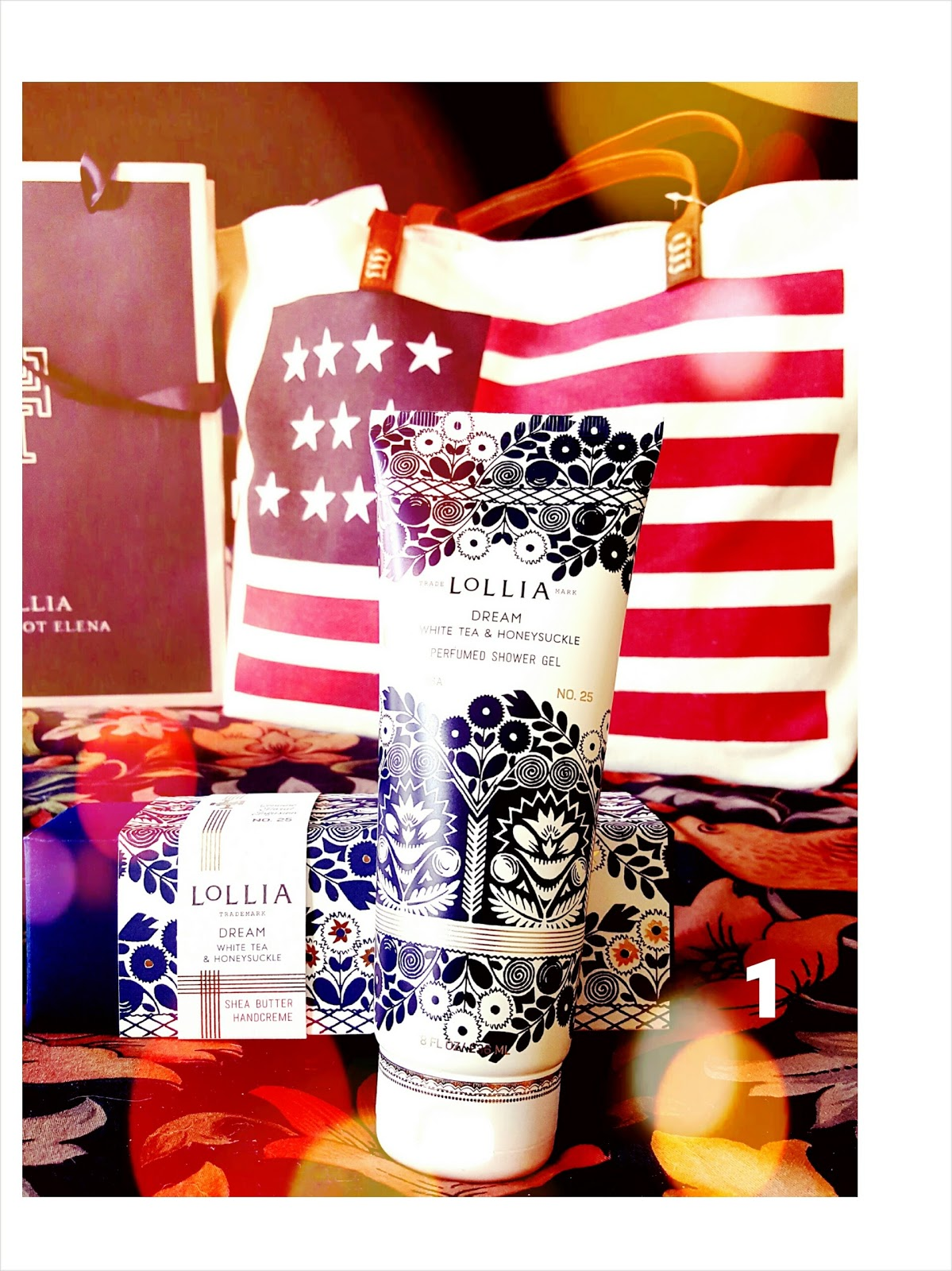 Author becky banks land of the free 67 value beautiful flag tote filled with lollias new and acclaimed dream shower gel and pure shea butter hand creme fandeluxe Choice Image