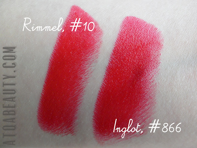 Rimmel, Lasting Finish by Kate Moss, 10 + Inglot Lipstick 866