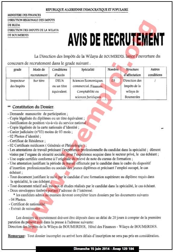 direction des imp u00f4ts de boumerdes recrute juin 2014