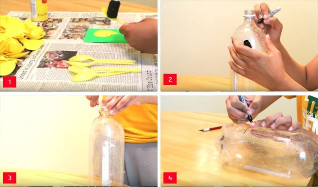 Kerajinan Botol Plastik Bekas Lampion Nanas