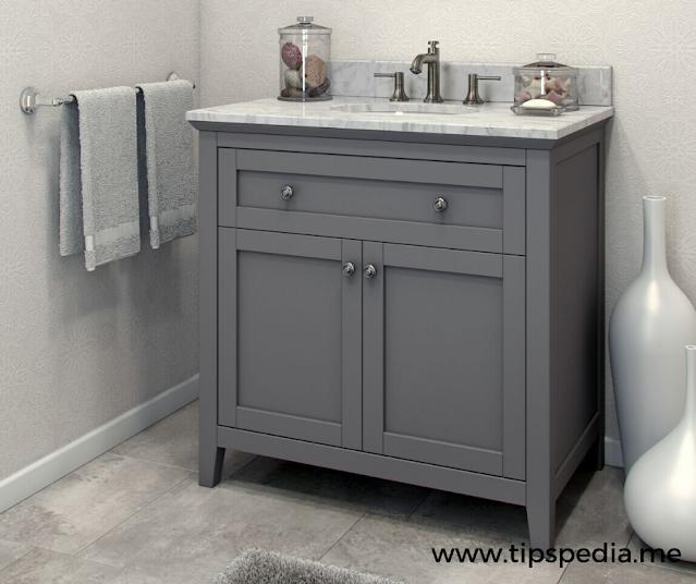 small grey bathroom cabinet