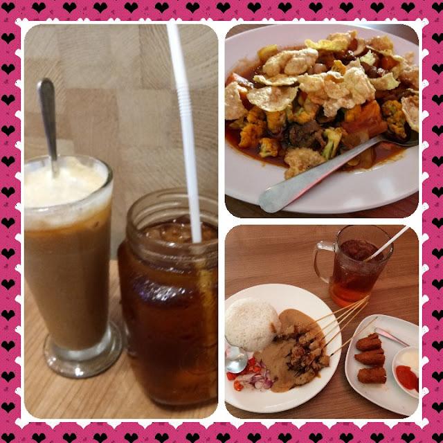 makanan dan minuman disajikan di cafe untuk keluarga yang murah