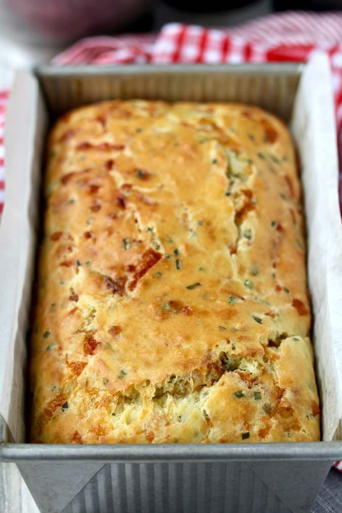 Cheddar Bacon Chive Quick Bread Loaf