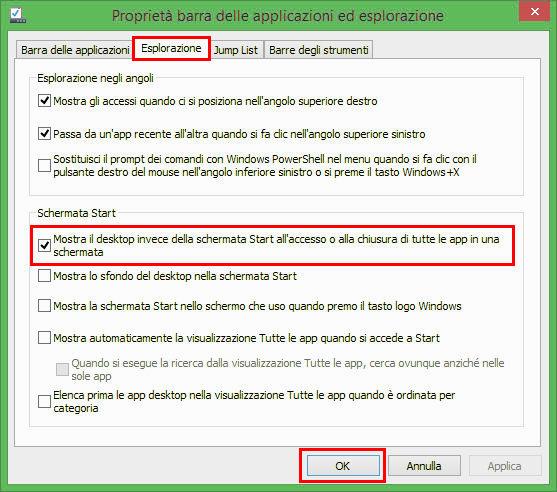 Windows 8.1: come andare direttamente sul desktop all'avvio