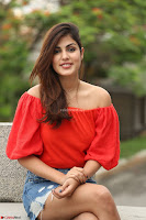Rhea Chakraborty in Red Crop Top and Denim Shorts Spicy Pics ~  Exclusive 365.JPG