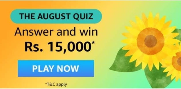 Amazon The August Quiz Answers Today win Rs 15,000