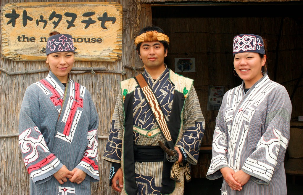Ainu wearing traditional costume