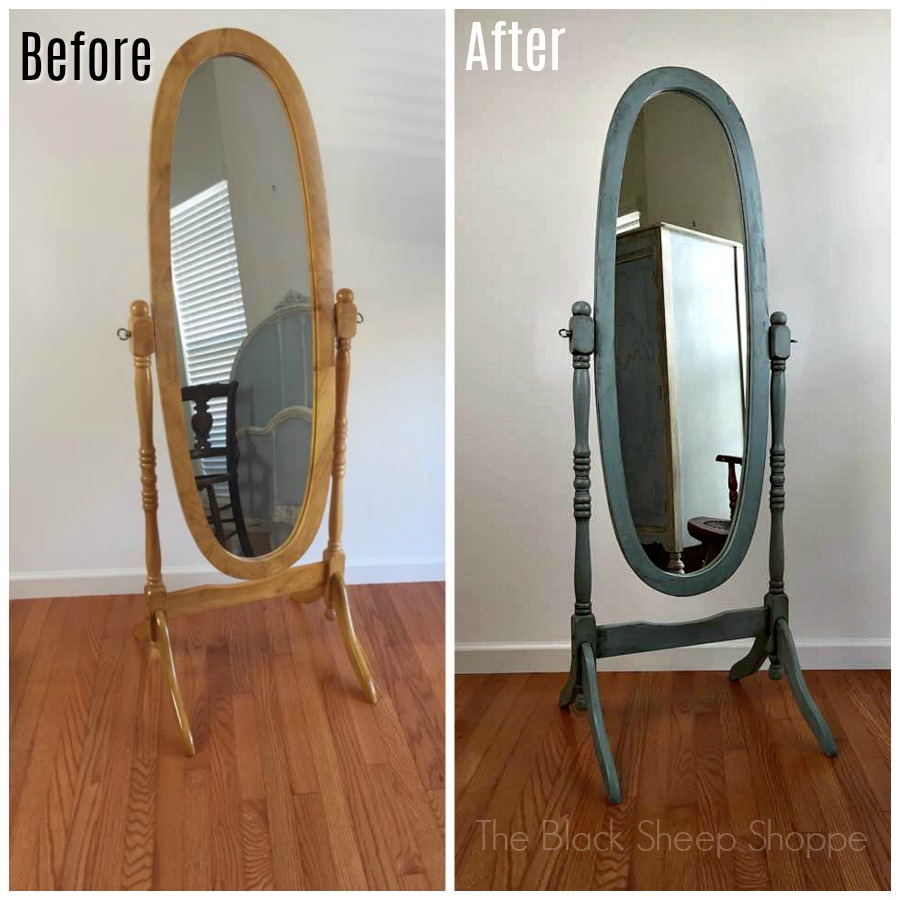 Cheval mirror before and after chalk paint