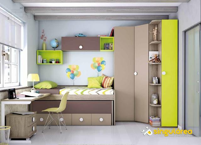 habitacion juvenil con cama compacta y armario de rincón