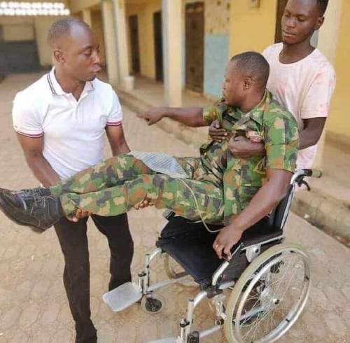 'Nigerian Army, My Wife Have Abandoned Me' - Soldier cries out after suffering from Spinal Cord Injury