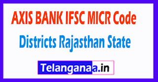 AXIS BANK IFSC MICR Code Districts Rajasthan State