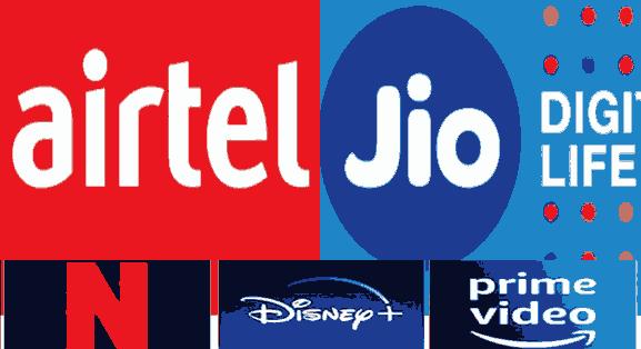 New Airtel,Jio Prepaid Plans With Free OTT Hostar , ZEE5 , Amazon Prime