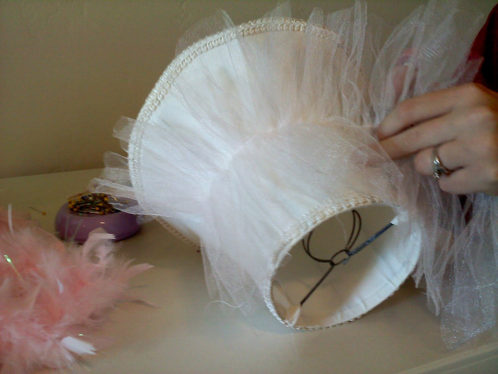 Easy Tulle And Boa Lampshade Makeover A Vision To Remember All Things Handmade Blog