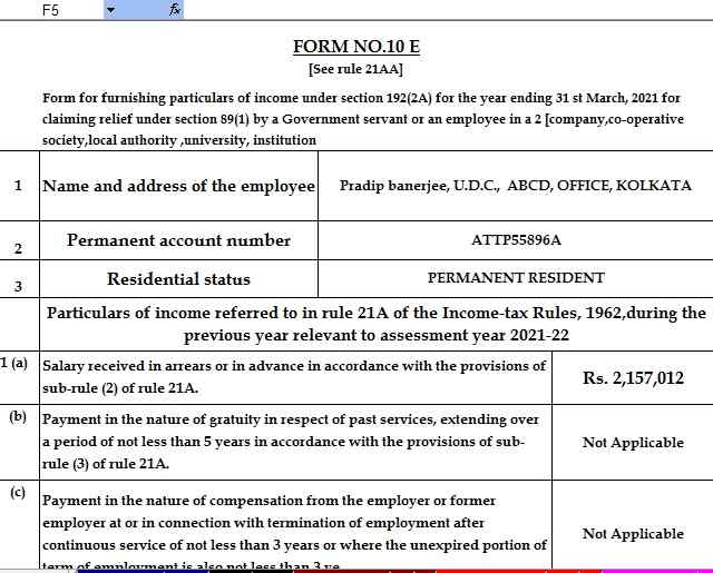 Income Tax Form 10E in Excel