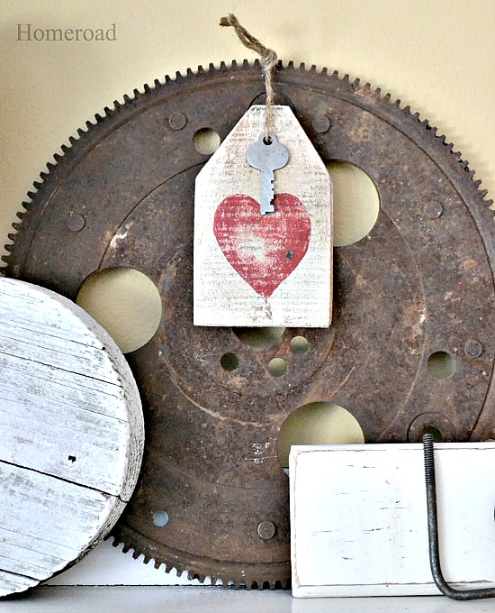 DIY Valentine Mantel and Heart Hang Tags. Homeroad.net