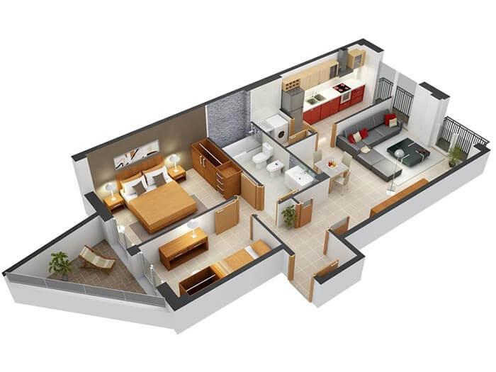 2+1 geniş ev planı