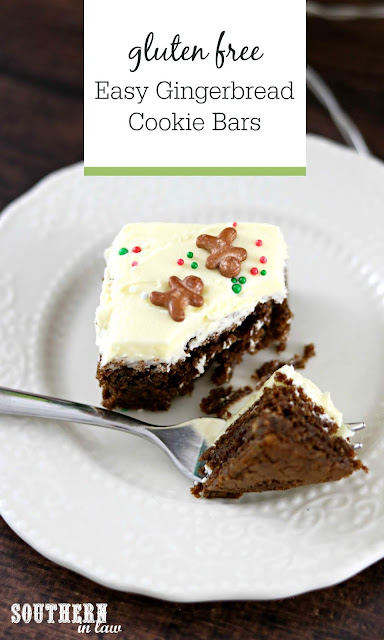 Easy Gingerbread Cookie Bars Recipe - gluten free, melt and mix, easy christmas desserts, quick christmas dessert recipes, fast, molasses cookie bars