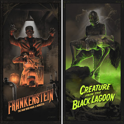 "Universal Monsters ""Frankenstein"" & ""Creature from the Black Lagoon"" Screen Prints by Juan Ramos x Bottleneck Gallery x Vice Press"