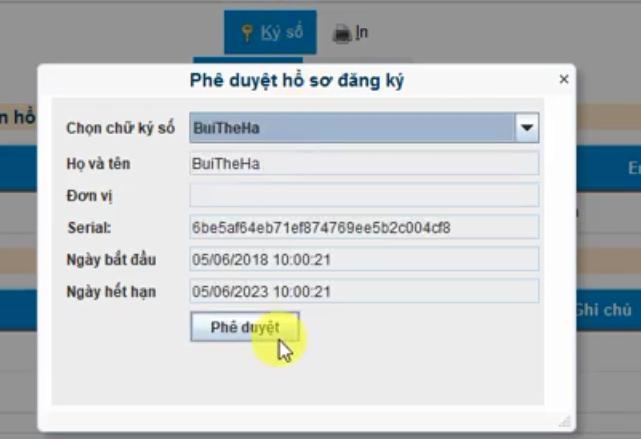 Hình 20- Phê duyệt hồ sơ đăng ký thay đổi chữ ký số Viettel-CA