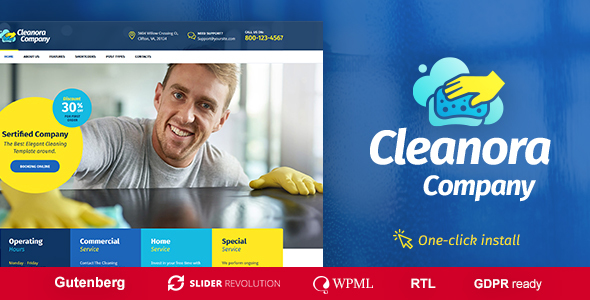 one solution WordPress subject for cleaning fellowship websites Cleanora v1.0.1 – Cleaning Services WordPress Theme Free Download
